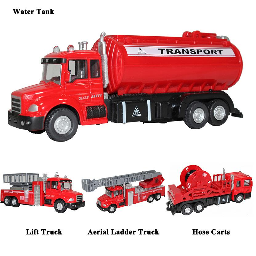 Children Kids Pull Back Cars Toys Construction Fire Fighting Truck Musical Light Vehicle Toy Gifts for Baby Boys Girls(China (Mainland))