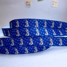 "Wholesale 3/8""9mm Frozen snowman Olaf pattern rib knitting belt gift packaging diy ribbon 20 yards free shipping(China (Mainland))"