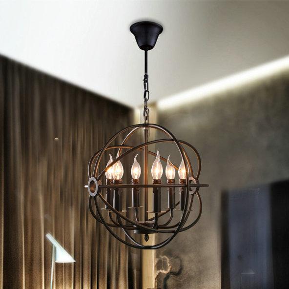vintage wrought iron rust color pendant lamp dinning room lighting. Black Bedroom Furniture Sets. Home Design Ideas