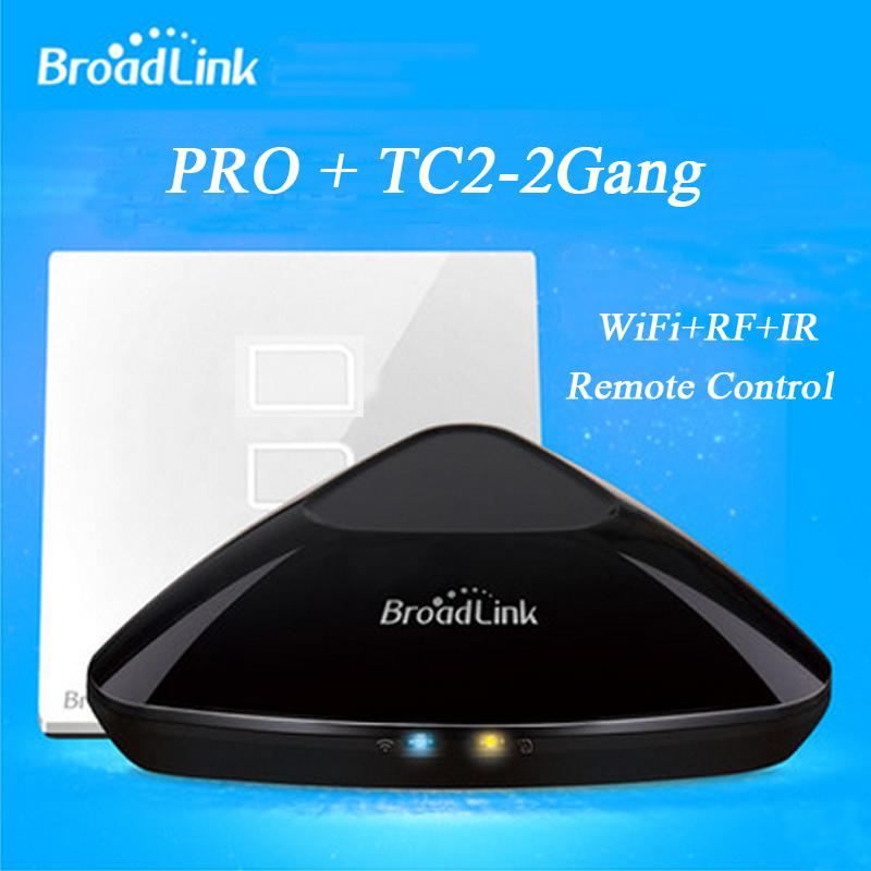 Broadlink RM Pro RM2 + Broadlink TC2 2 gang Smart Switch Home Automation WiFi Controlled IR &amp; RF Remote Control Smart Light <br>