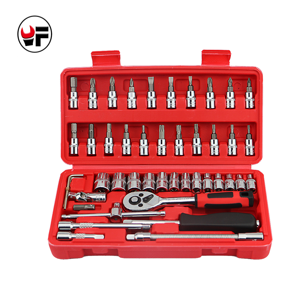 YOFE TOOLS 46pc Spanner Socket Set Car Repair Tool Ratchet Wrench Set Torque Wrench Combination Bit a set of keys red