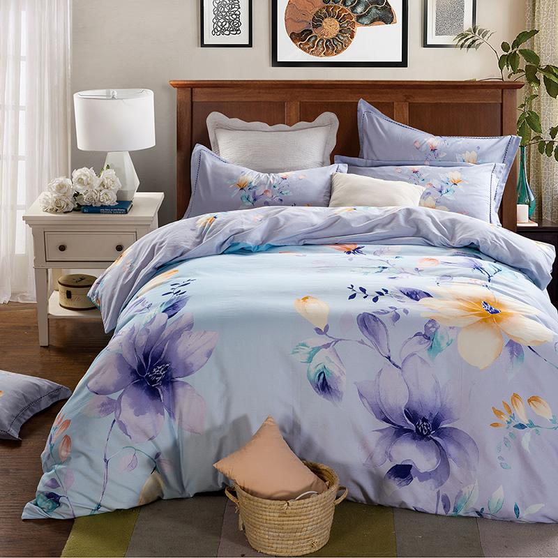 4/5 pcs 100% cotton purple comforter sets sunflower bedding sheet/pillowcase/quilt cover queen/king cover/comforter set(China (Mainland))