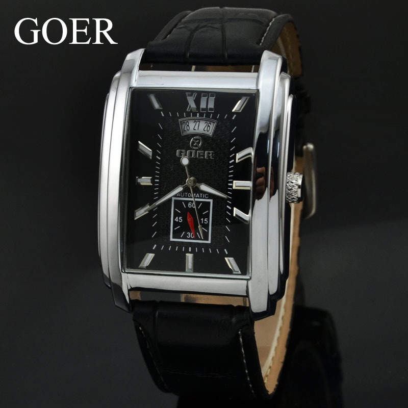 Brand GOER Watches PU Leather Automatic Mechanical Men Watch Fashion Clock Table Rectangle Watches Mens Relogios Masculino(China (Mainland))