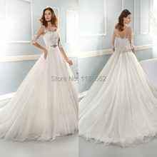Stunning Scoop Neck Appliques Details Crystals Beaded Belt Tulle Ball Gowns 2014 Wedding Dress See Through Sleeves(China (Mainland))
