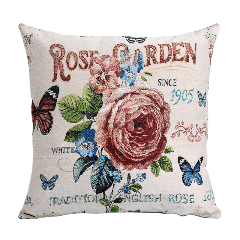 Floral Rose Garden Vintage Style Sofa Cushion Covers Embroidered Butterfly Green Flower Seat Pillow Cases Home Decoration(China (Mainland))