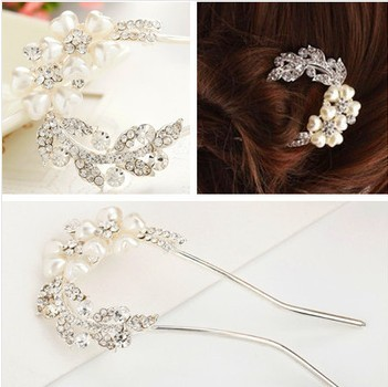 2015 Fashion Hair Jewelry Wedding Bridal Accessories Sticks Rhinestone Flower Tiara F030 - MENGJIQIAO -Rose Store store