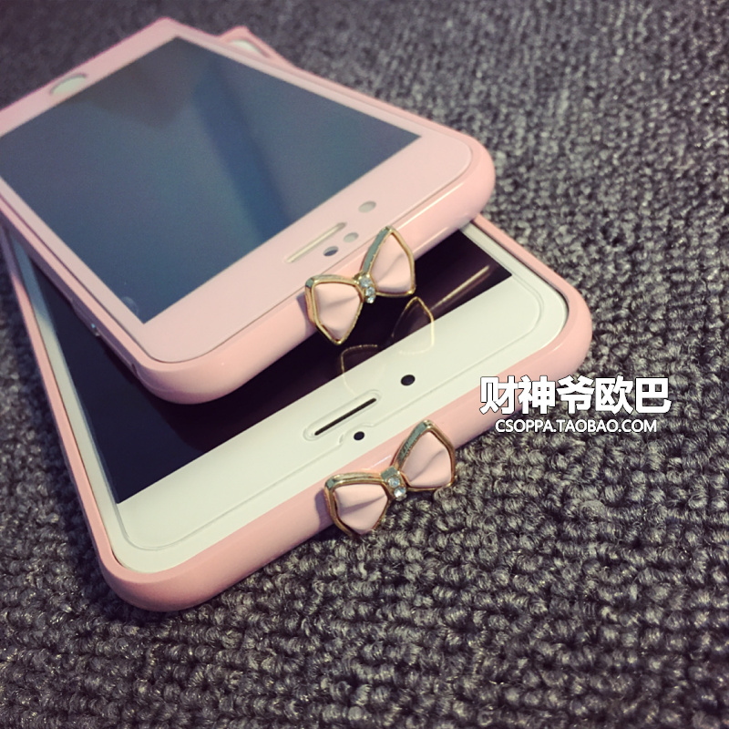 3D Cell Phone Plastic Frame Bumper Phone Case with Rhinestone diamond bow phone case pink cover For Iphone 6 plus 6s Plus(China (Mainland))