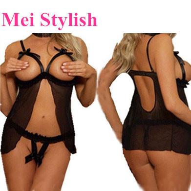 drop ship plus size S M L XL XXL XXXL open bra design Hot Sexy Lingerie bridal Lace Belted Sleepwear +g-string Nightwear M073-1(China (Mainland))