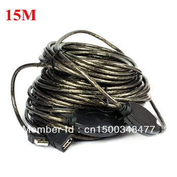 Free Shipping 15m/50ft High Quality USB 2.0 Active Repeater Extension cable 480Mbp with Booster