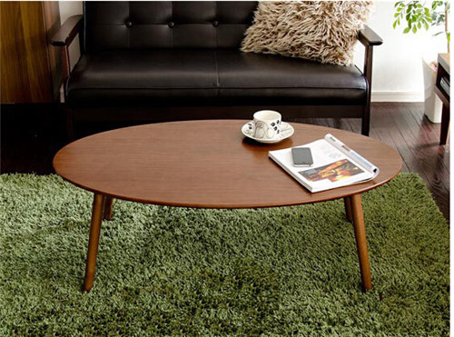 Modern Oval Wood Table Folding Legs Walnut Color Living Room Furniture China Contemparay Low Center Sofa Side Table Wooden(China (Mainland))