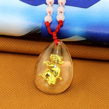 Wholesale Anime Fairy Tail Chinese Zodiac Golden Year of Rat Mouse Man-made Jade Pendant Bead Necklace Lucky Stone JEWELRY Gift