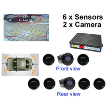 New Dual Channel Car Video Parking Reverse Radar System 6 Sensor with Front View Camera and Rear view Camera, Free shipping(China (Mainland))