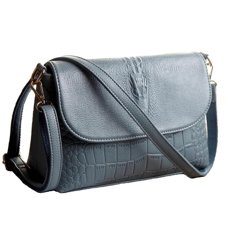 2016 New arrival CROCO design Flap bag PU leather women bag candy pure women messenger bag double belt shoulder bags WLHB1281(China (Mainland))