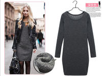 женщины зимой платье 2015 новых моды твердых основные повседневные платья хлопок длинные рукава свитер Осень Платья vestidos плюс szie s ~ 3xl