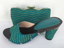 Hot Fashion Green Color Slip on Sandals for Women Italian Matching Shoe and Bag Sets Women Shoes and Bag To Match for Parties(China (Mainland))
