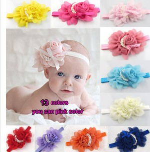 Newborn Cute Baby Pearl Rose Flower Hair Band Chiffon Lace Baby Headband Ribbon Elasticity Hair Accessories Headwear A054-3(China (Mainland))