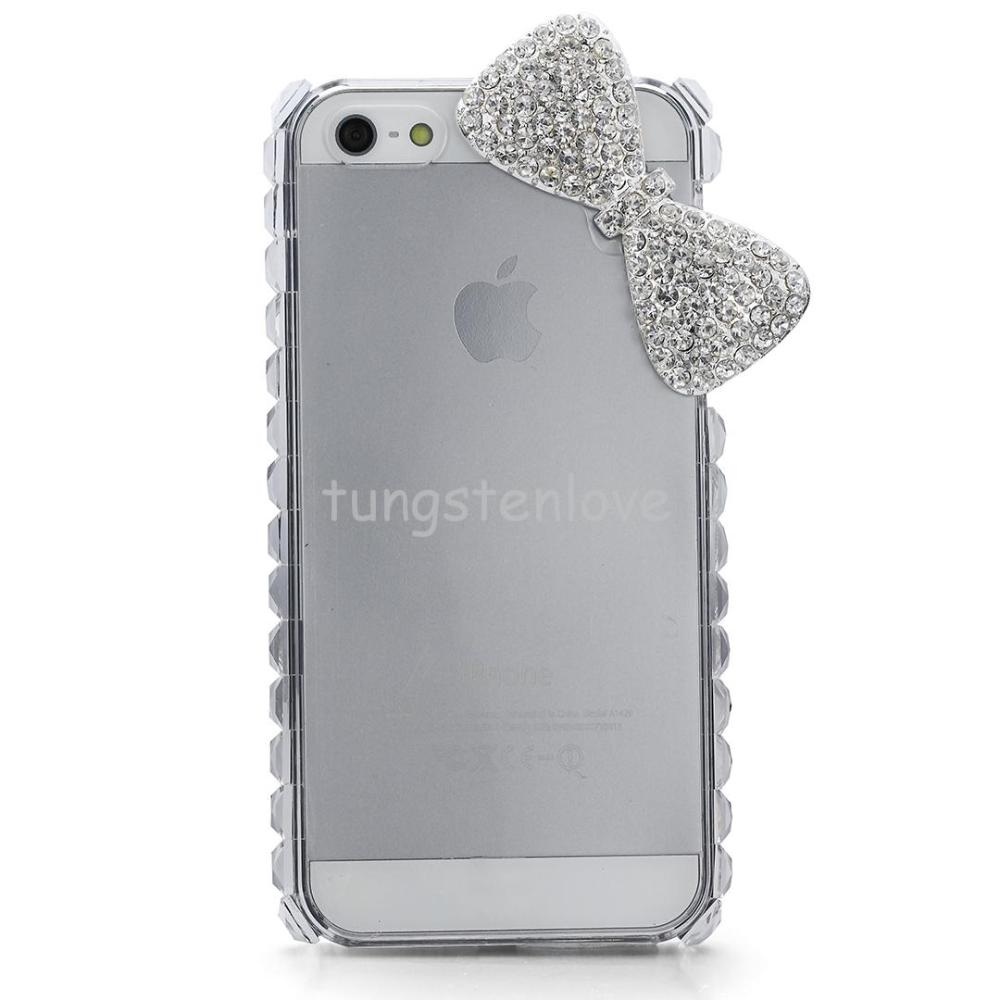 2015 New Butterfly Bow Rhinestone Hard Skin Case Cover Shell for Mobile Cell Phone Apple Iphone 5/5S womens(China (Mainland))