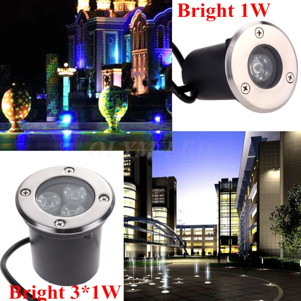 20X Waterproof LED Buried Lights IP67 Recessed Step Lamps Patio Paver Plinth Outdoor Lighting 1W 3W Underground LED Light(China (Mainland))