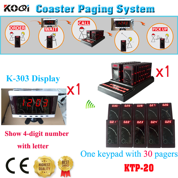Guest Paging Taking Order System Keypad Coaster Pager Coffee Restaurant Personal Calling Pager(1 display+ 1 keypad +30pcs pages)(China (Mainland))