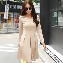 2016 New Arrival Korean Women Winter Autumn Dress Solid Long Sleeve Knee Length Draped Casual/Formal Office Dress AW507