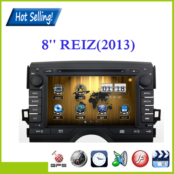 Cheap Price 8Inches Double Din Tounch Screen Card Player for Toyota REIZ(2013) with GPS AM/FM radio Bluetooth +8G Card Map(China (Mainland))