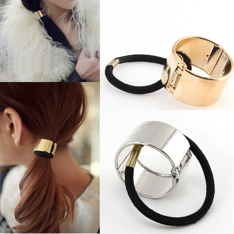1Ps New Fashion Women Hair Accesories Cool Metal Circle Hair Bands Elastic Ponytail Holder Head Jewelry Gold Silver Dropshipping(China (Mainland))