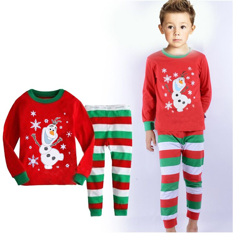 New Christmas cartoon Olaf Pajama Set Kids Clothing Children Nightie/Pyjamas Clothing Sets Boys girls Snowman nightgown wear(China (Mainland))