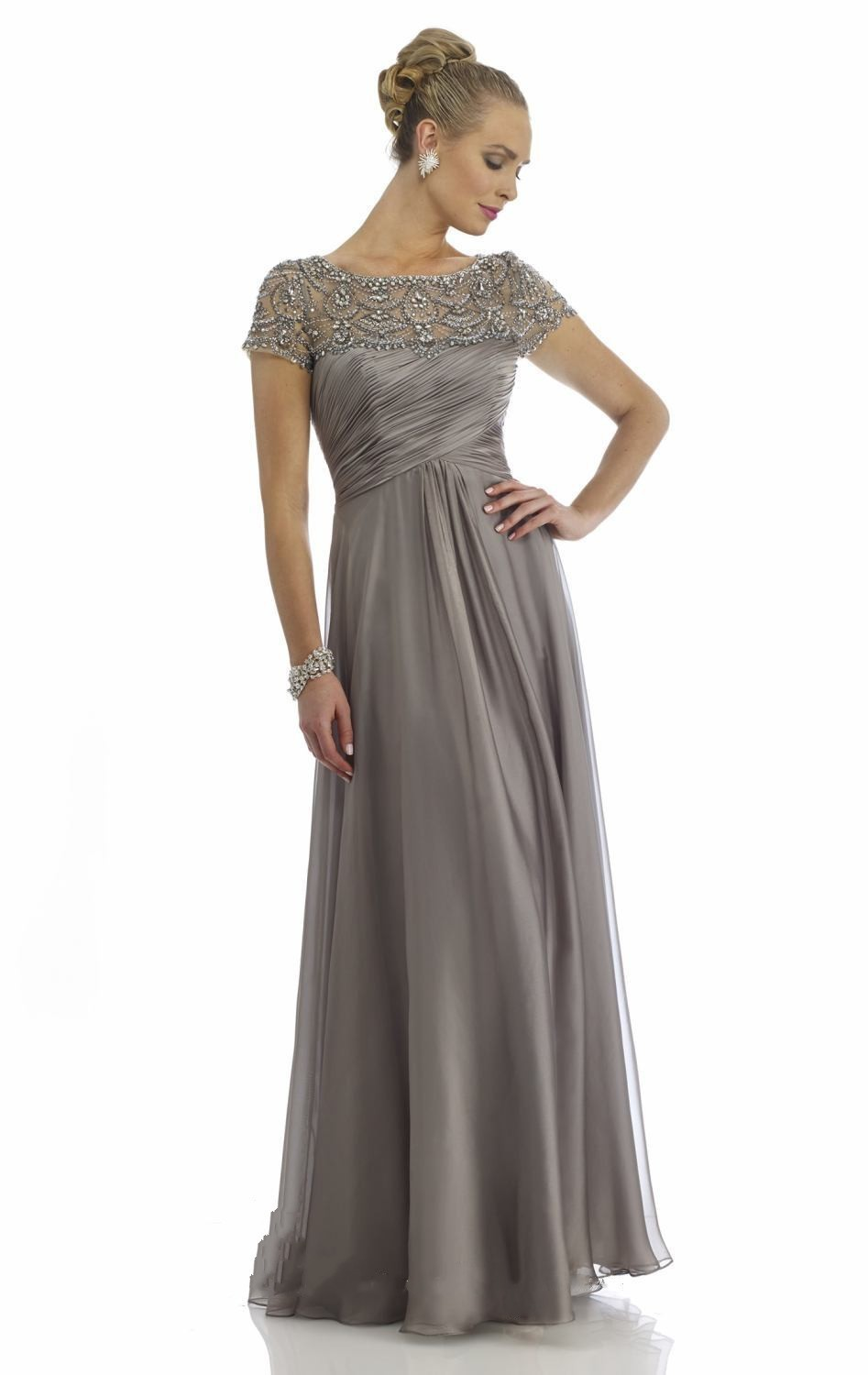 Elegant with sleeves beaded chiffon long evening dress for Gray dresses for wedding
