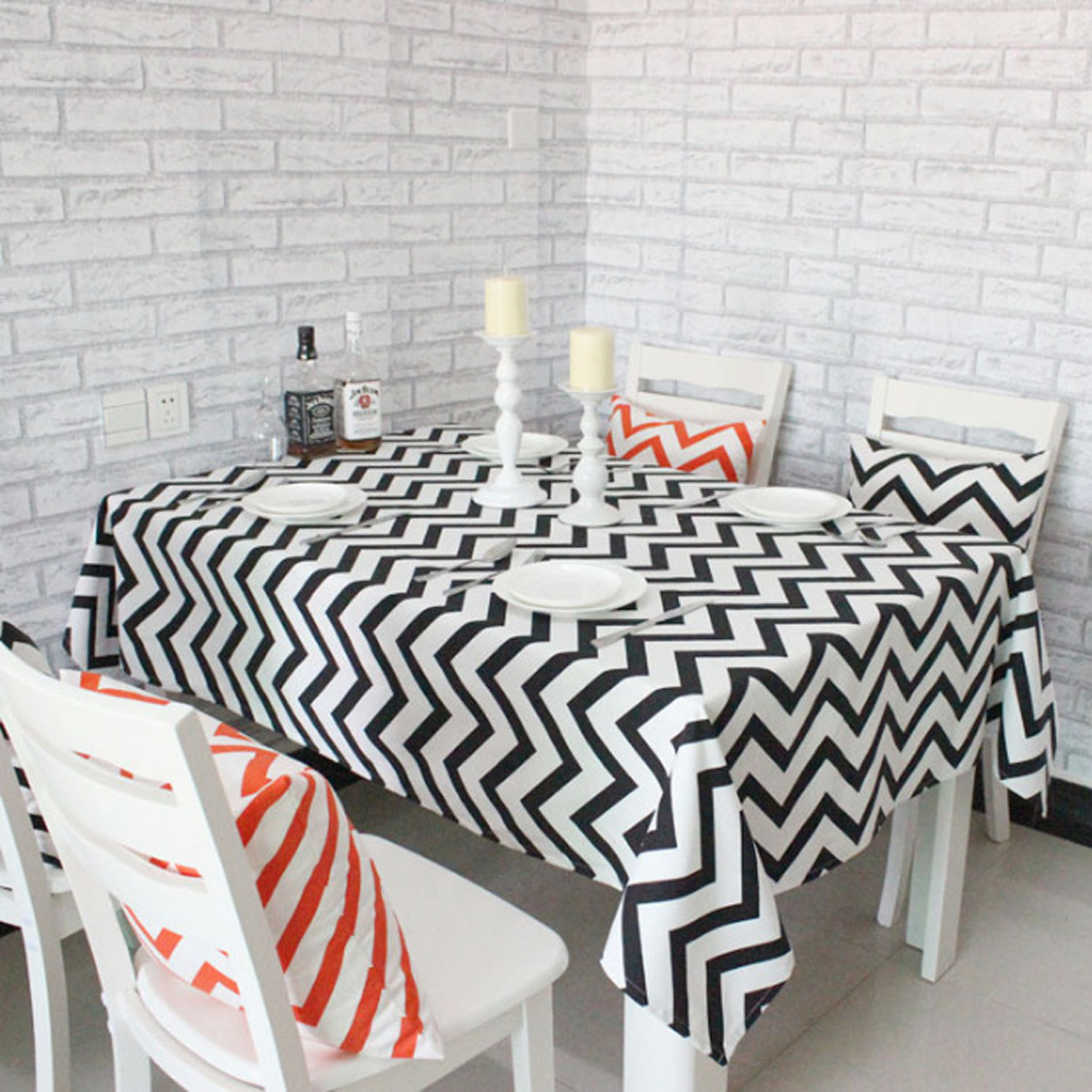 Modern Rectangular Table Cloth Geometric Square Tablecloth Table Cover Home Restaurant Decoration black and white Striped Wave(China (Mainland))