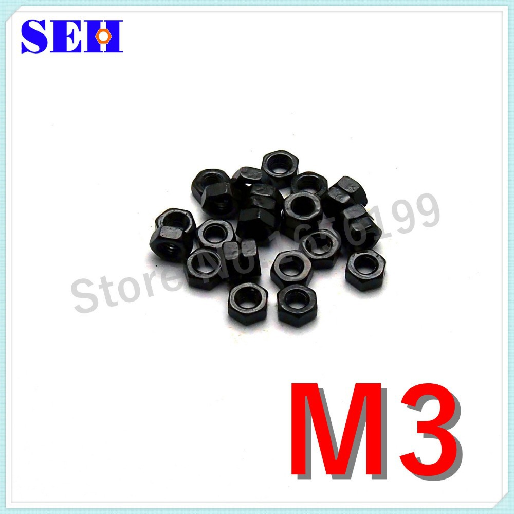 Гаджет  100pcs M3 Hex Nut High Quality Carbon Steel Grade 8.8 Black Hex Nutsert Stainless Thread Nut None Аппаратные средства