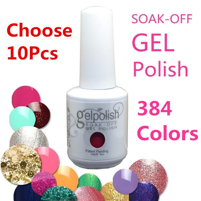 (Choose 10 Colors) 384 Colors Soak-OFF Sequins UV Color Gel Nail Polish (15ml,Assorted - WOVJ Beauty Shop store