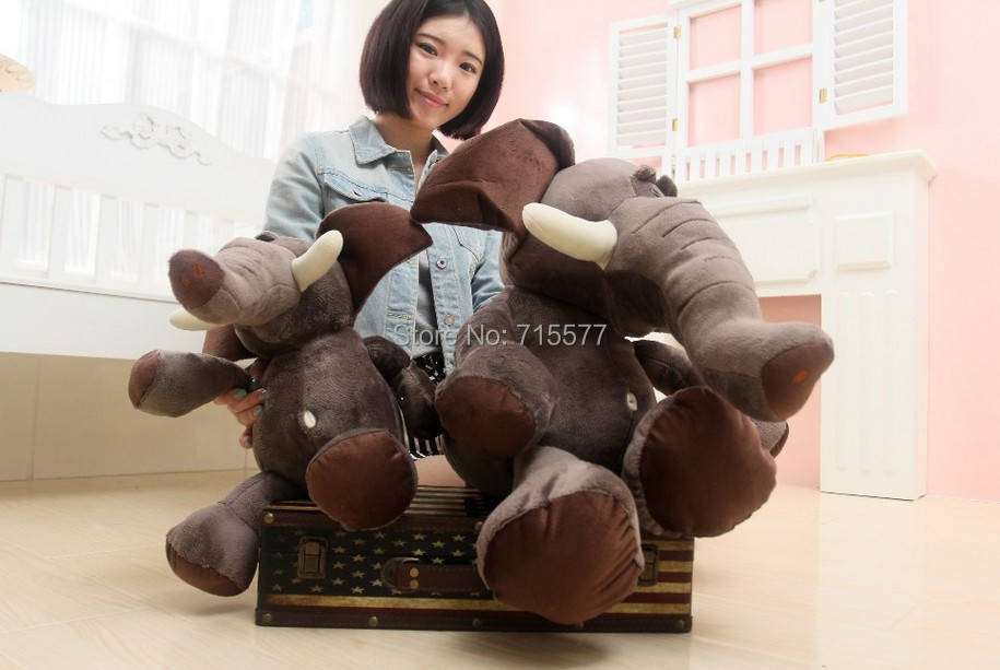 1 piece size 80 cm  2015 new Stuffed Animal Plush toy Elephant brothers toy doll jungle with chuck gift christma baby child gift<br><br>Aliexpress