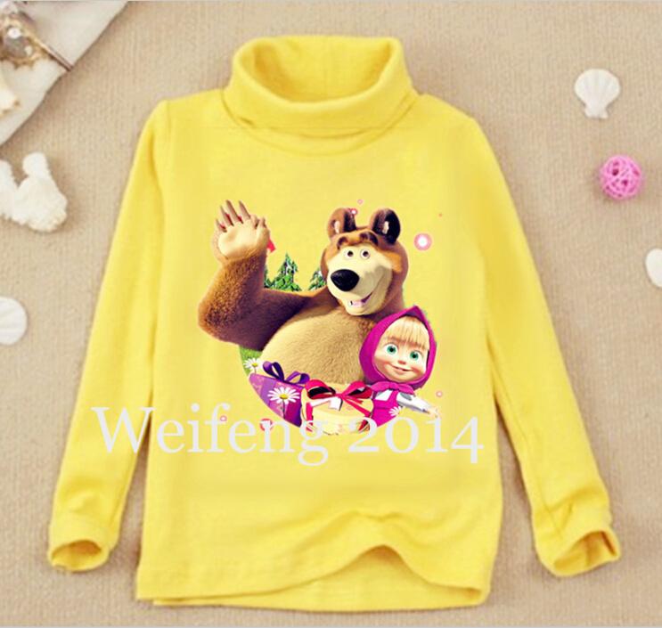 Olike Brand Russia cartoon masha long sleeve children t shirts for girl cotton kids boys t shirt girl clothes WF0508(China (Mainland))