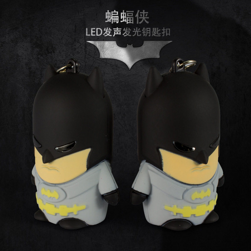 Batman LED sound light keychains flashlight sound ring kids toys cute cartoon Batman key chains child gift pendant wholesales<br><br>Aliexpress