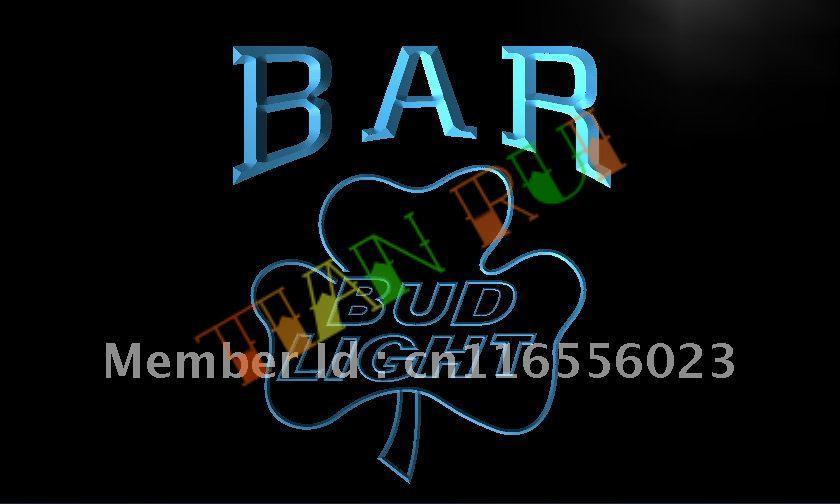LA810- BAR Bud Shamrock Beer LED Neon Light Sign(China (Mainland))
