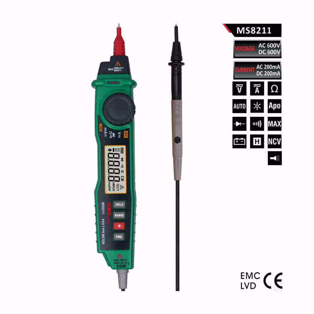 Aimometer Ms8211 2000 Counts Auto Range Pen Type Digital Multimeter Back Light NCV Detector - BSIDE TRADE (HONGKONG storeCO.,LIMTED)