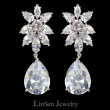 New design luxury Cubic Zirconia clip on earrings for women,zircon fashion clip earrings without piercing no hole ear clip(China (Mainland))
