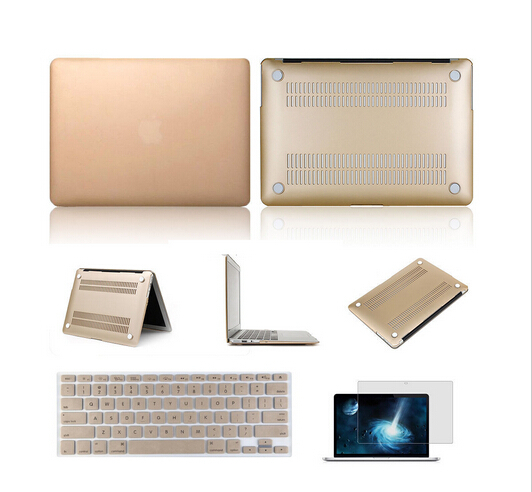 Computer accessories Gold laptop case Hard Frosted protective shell for macbook air pro retina 11 13 15 inch+keybaord cover(China (Mainland))