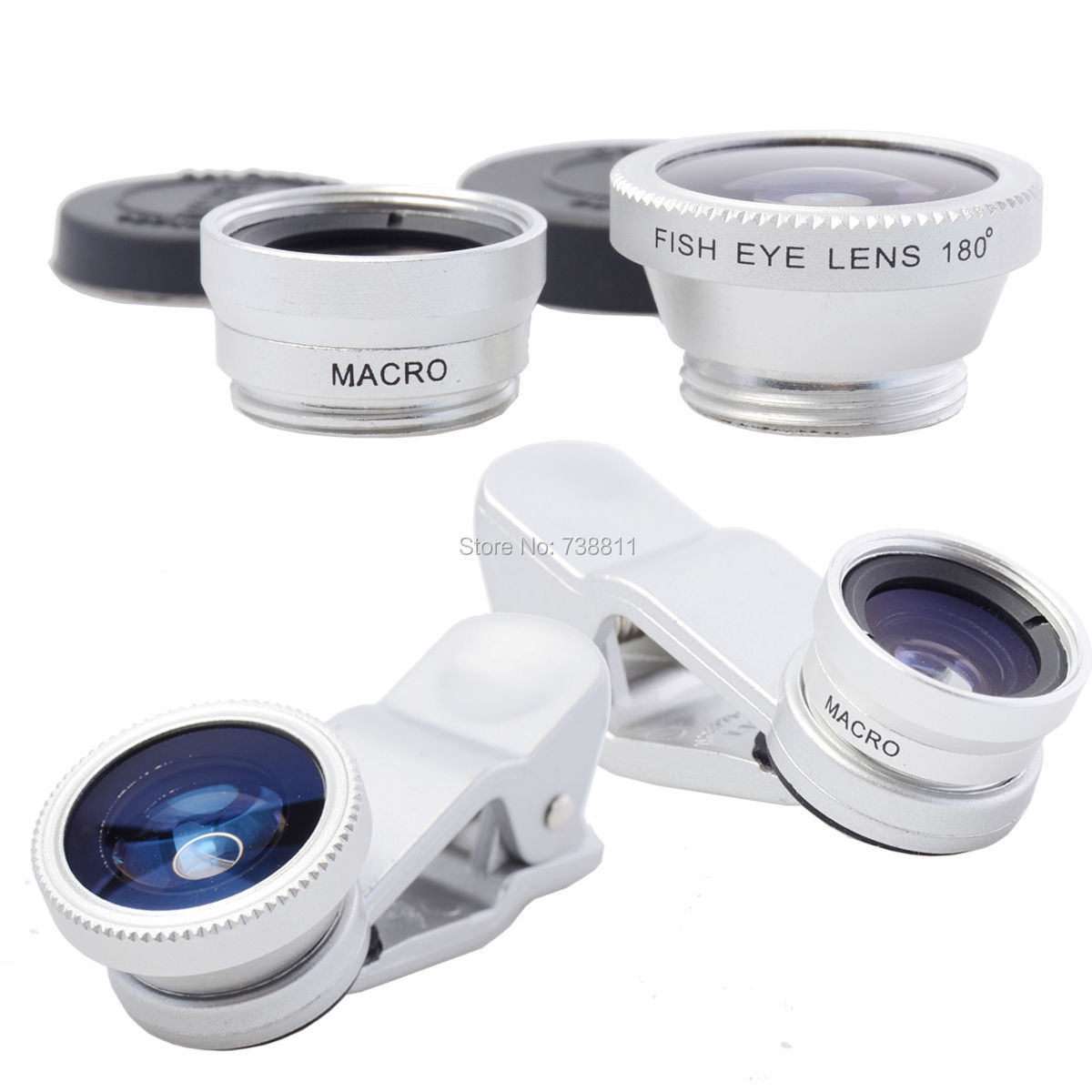 FREE Shipping/ 3 in 1 180 Degree Fish Eye+Wide Angle+Macro Camera Phone Lens For iPhone 5/5S/5C/4S/4/For Samsung Galaxy S5/S4/S3(China (Mainland))