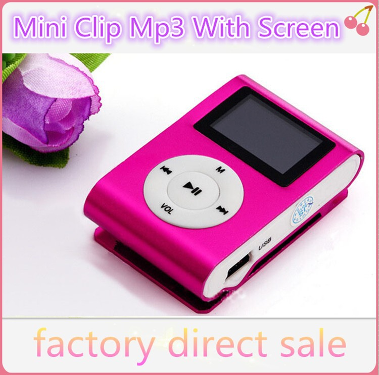 2015 New Portable MP3 LCD Screen Metal Mini Clip MP3 Player With Micro TF/SD Card Slot With High Quality Earphone Music players(Hong Kong)