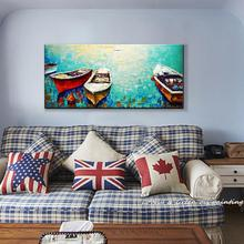 Hand painting oil painting Boating canvas entranceway decorative painting frameless paintings wall art for home decor HY14162(China (Mainland))