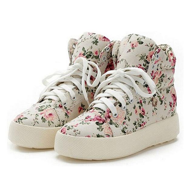 Женская Обувь Мода Холст обувь женщины платформа холст цветочный печати ботильоны ...