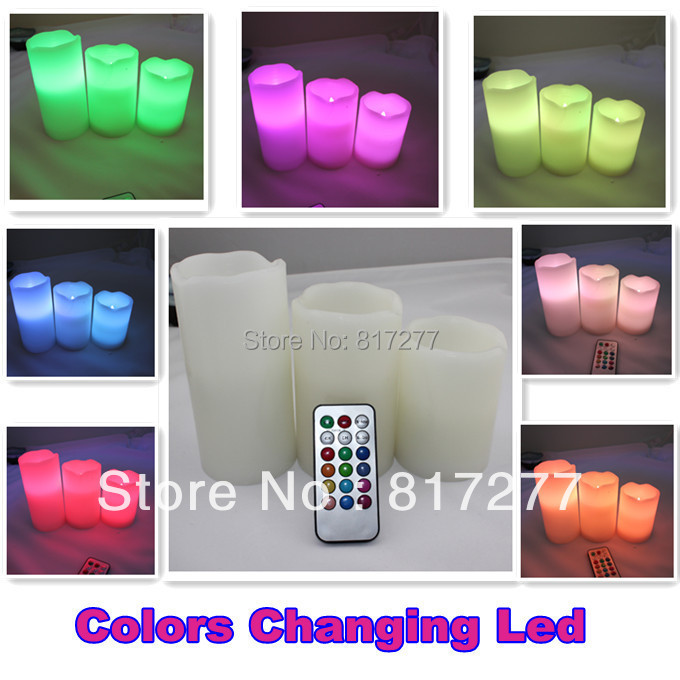 Hot Sale! Remote Control Pillar Wax LED Candle lights With Color Changing Remote Control (4'', 5'', 6'' inch candles)(China (Mainland))