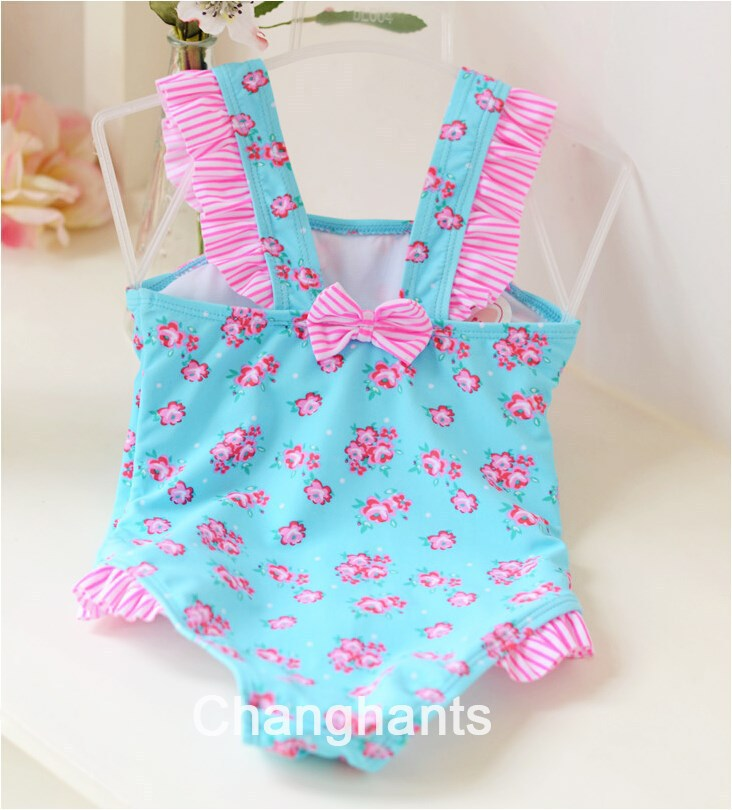 cute baby girl swimwear one piece light blue with little flower pattern 2-4Y girls swimsuit kid/children swimming Suit sw26(China (Mainland))