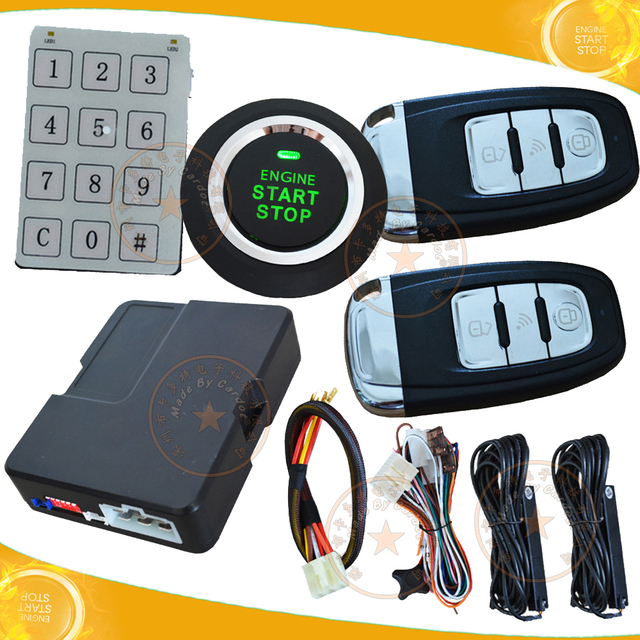 New  passwords keyless entry car alarm system with green running light start stop button 3d pke antennas against dead angle