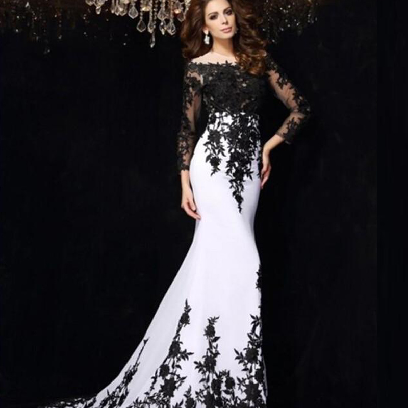 Pictures Of Black And White Prom Dresses With Sleeves Kidskunstfo