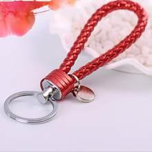 Llaveros de Metal para los amantes Regalo de Cumpleaños Trinke llavero de alta calidad t colorido nuevo llavero de cordón de cuero trenzado Multicolor(China)