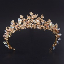 New Fashion Magnificent Pearl Crystal Bridal Crown Tiaras Classic Golden Diadem tiaras for Women Bride Wedding Hair Accessories(China (Mainland))