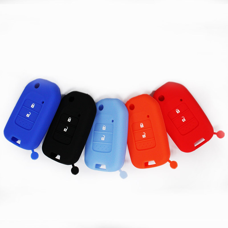 New 2015 Silicone Car Key Cover,Hot sale Silicone car key cover case for Honda Accord 9 Jade 2 Buttons Folding Car key(China (Mainland))