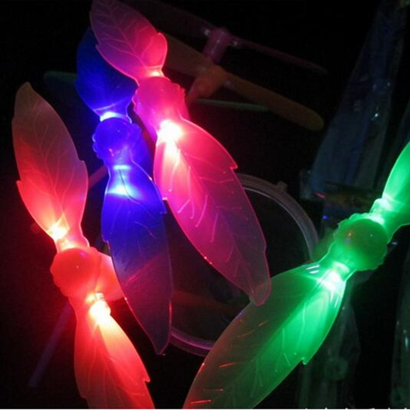 Children Colorful LED Lighting Leaves Bamboo Dragonfly Funny Outdoor Fly Toys Glowing Bamboo copter Birthday Gifts(China (Mainland))